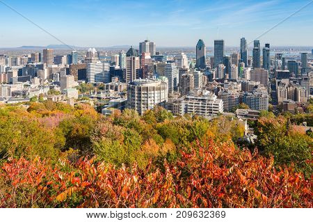 Montreal, Canada - 18 October 2017: Montreal Skyline With Autumn Colours From Mont Royal Kondiaronk