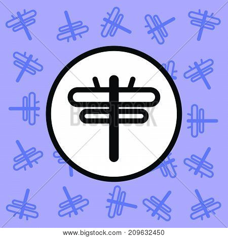 Dragonfly icon sign and symbol on purple background vector illustration