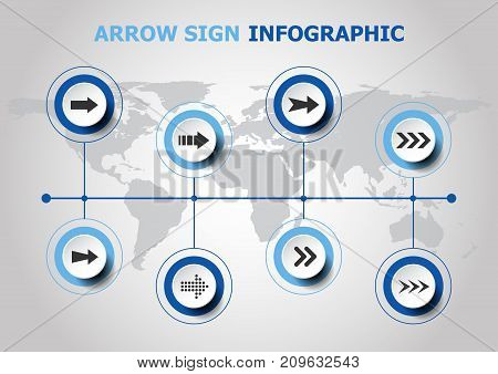 Infographic design with arrow sign icons, stock vector