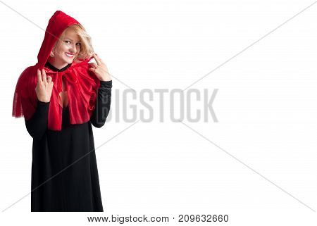 Beautiful woman in halloween costume Little Red riding hood on white background