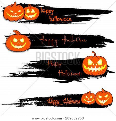 Set Of Grunge Banners With Happy Halloween