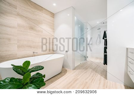 Interior of a white, light coloured bathroom in a modern Australian home.