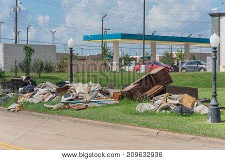 Devastation Of Hurricane Harvey In Pearland, Texas, Usa