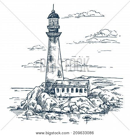 Lighthouse on rocks sketch. Warehouse building or lighthouse keeper house. Island with beacon or searchlight, travel sea route beam. Architecture and guidance, ocean and marine theme