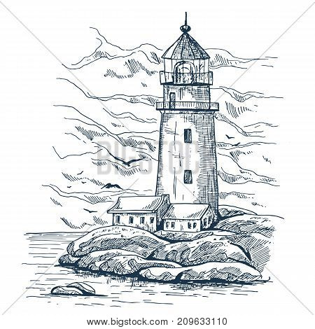 Lighthouse on island with rocks sketch. Lighthouse keeper house or warehouse building . Beacon with hazard beam or searchlight. Architecture and harbor guidance, ocean and marine theme