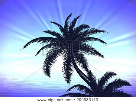 Silhouette of palm tree on the blue gradient sunrise background