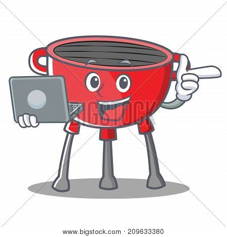 With Laptop Barbecue Grill Cartoon Character Vector Illustration