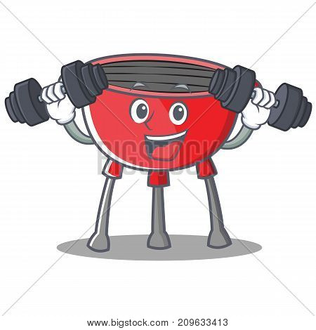 Fitness Barbecue Grill Cartoon Character Vector Illustration