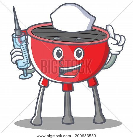 Nurse Barbecue Grill Cartoon Character Vector Illustration