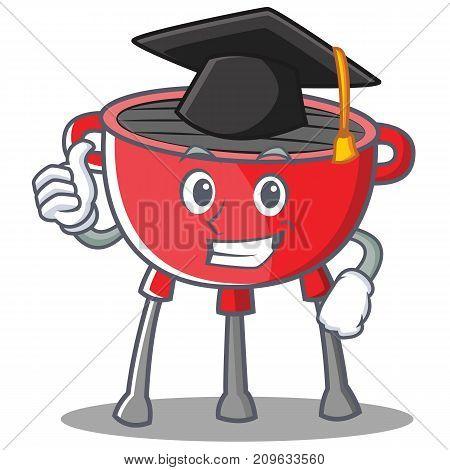 Graduation Barbecue Grill Cartoon Character Vector Illustration