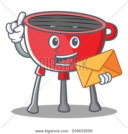 With Envelope Barbecue Grill Cartoon Character Vector Illustration