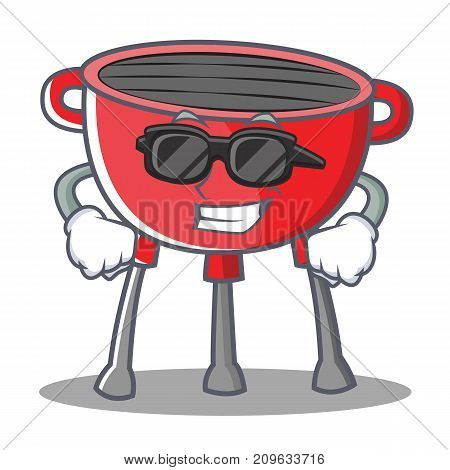 Super Cool Barbecue Grill Cartoon Character Vector Illustration