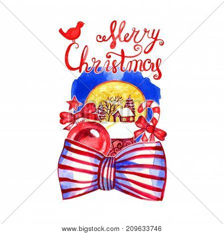 Greeting card of hand drawn lettering and holidays decorations. Christmas text for invitation and greeting card, prints and posters. Calligraphic winter design.
