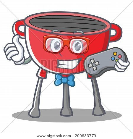 Gamer Barbecue Grill Cartoon Character Vector Illustration