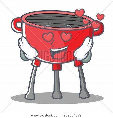 In Love Barbecue Grill Cartoon Character Vector Illustration