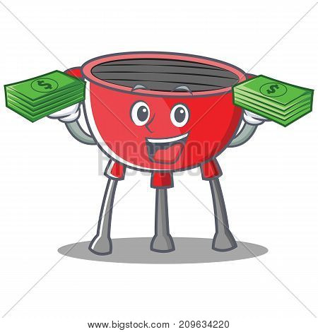 With Money Barbecue Grill Cartoon Character Vector Illustration