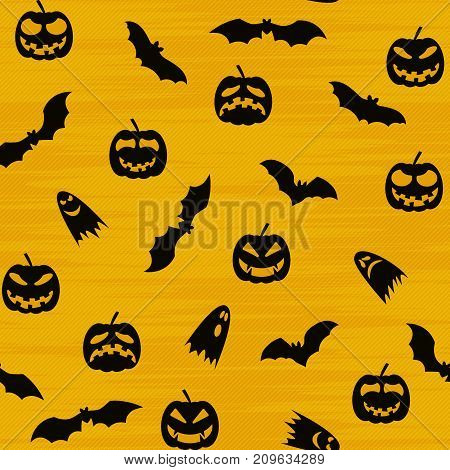 Halloween orange festive seamless pattern. Endless background with pumpkins, bats, ghosts