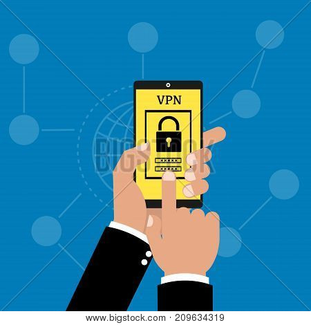 Businessman hand holding smart phone tablet with app VPN creation Internet protocols for protection private network on network background. Vector illustration technology business online concept.