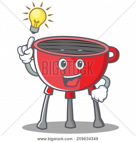 Have An Idea Barbecue Grill Cartoon Character Vector Illustration