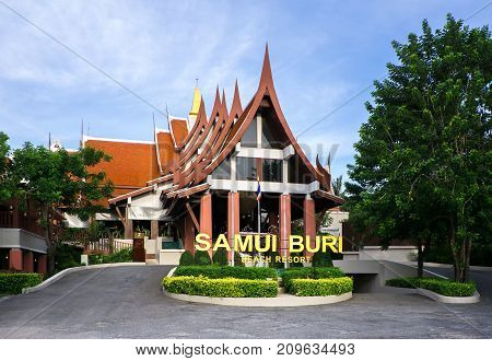 Koh Samui Island, Thailand - June 21, 2017: Hotel Samui Buri Beach Resort