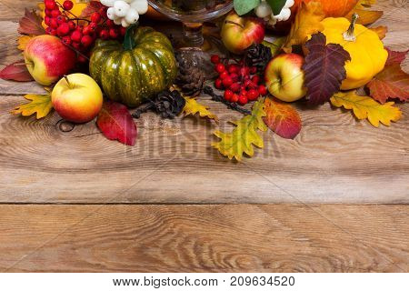 Fall Background With Green Pumpkin, Yellow Squash, Oak Leaves, Copy Space