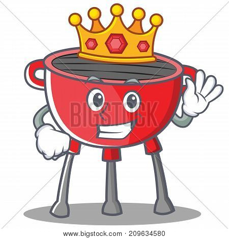 King Barbecue Grill Cartoon Character Vector Illustration