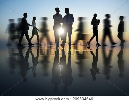 Busy business people walking