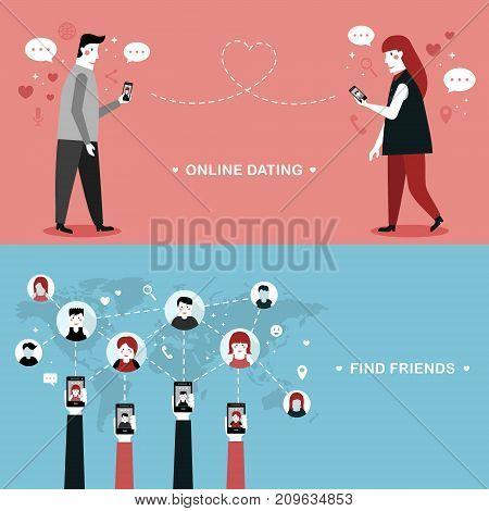 Online Dating Flat Design