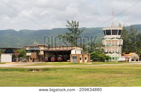 Koh Samui Island, Thailand - June 15, 2017: Fire station in Samui International Airport in the open air