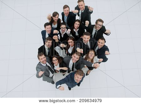 Elevated view of large group of multiethnic business people chee