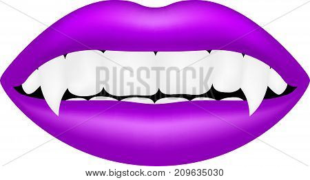 Vampire mouth in purple design on white background