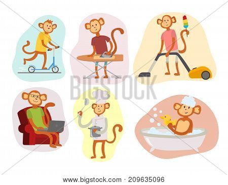 Monkey cartoon businessman suit profile icon portrait. Chimpanzee happiness man flat vector illustration. Ape person costume character design.