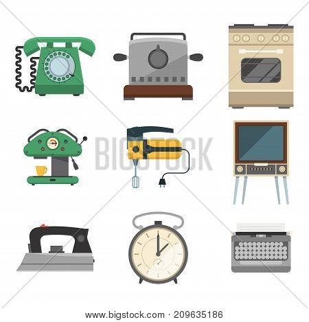 Retro vintage household appliances vector symbols. Kitchenware antique technology utensil symbols. Housework electric equipment domestic tools.
