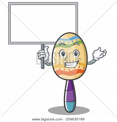 With board maracas character cartoon style vector illustration