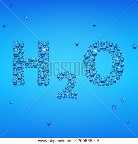 Blue drops of water background, H2O lettering, vector illustratin
