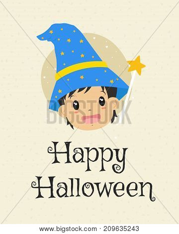Happy Halloween card design, cute wizard and magic wand cartoon vector