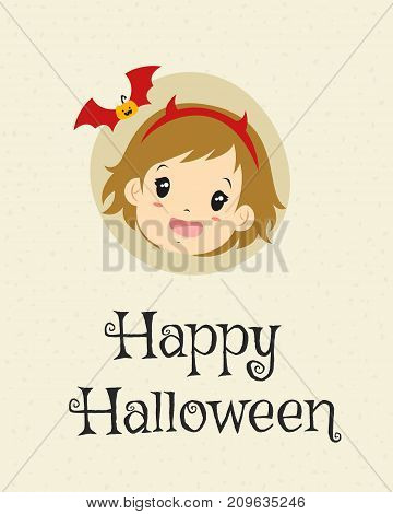 Happy Halloween card design, cute girl wearing red devil hons headband cartoon vector