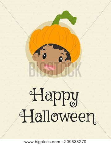 Happy Halloween card design, african american boy wearing pumpkin hat cartoon vector