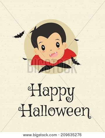 Happy Halloween card design, boy in Dracula and flying bats cartoon vector