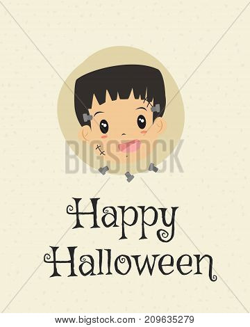 Happy Halloween card design, cute zombie and bolts cartoon vector