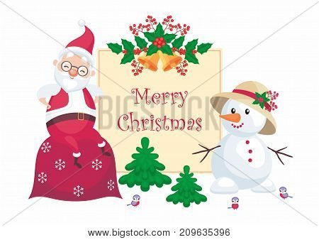 Christmas greeting card with the image of Santa Claus and funny snowman. Vector background.
