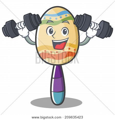Fitness maracas character cartoon style vector illustration