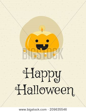 Happy Halloween card design, cute pumpkin candle cartoon vector