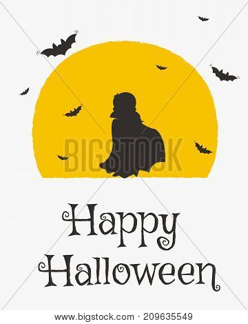 Happy Halloween card design, Dracula silhouette and flying bats cartoon vector