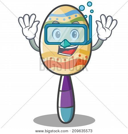 Diving maracas character cartoon style vector illustration