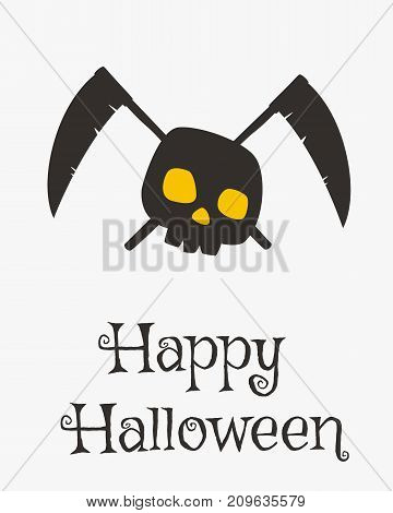 Happy Halloween card design, skeleton and grim reaper crossed scythes silhouette cartoon vector