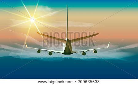Vector illustration of jet flying in sunny blue sky in back view.