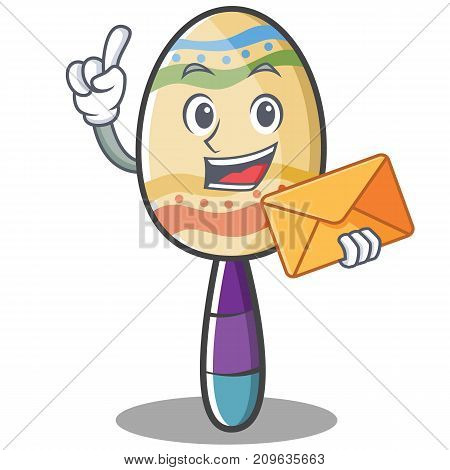 With envelope maracas character cartoon style vector illustration