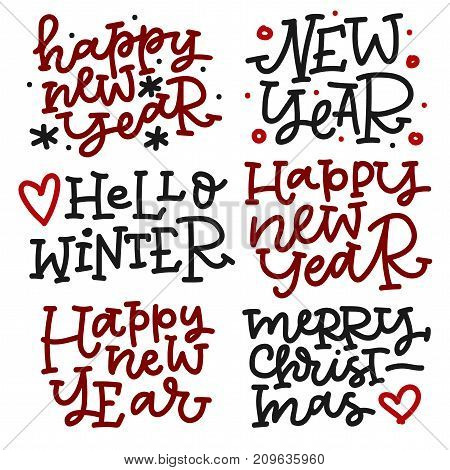 Christmas hand lettering set in black and red colors. Happy new year, hello winter, merry christmas. Can be used on postcards, invitations, bags and etc.