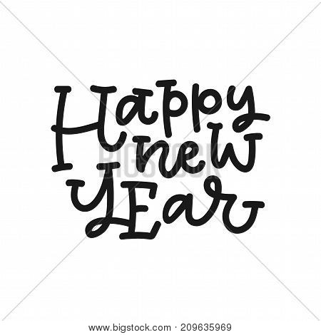 Happy new year hand lettering on white background. Can be used on postcards, invitations, bags and etc.